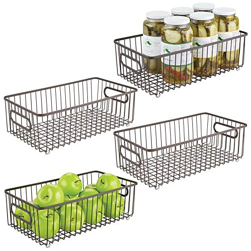 mDesign Metal Farmhouse Kitchen Pantry Food Storage Organizer Basket Bin - Wire Grid Design - for Cabinets, Cupboards, Shelves, Countertops - Holds Potatoes, Onions, Fruit - Large, 4 Pack - - Fridge Bronze Mini
