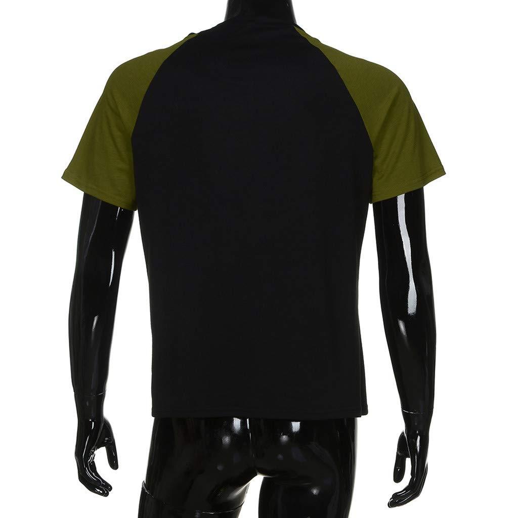 iHENGH❂Hommes D/ét/é Muscle Slim Fit Casual Manches Courtes Patchwork Chemisier Top T-Shirt