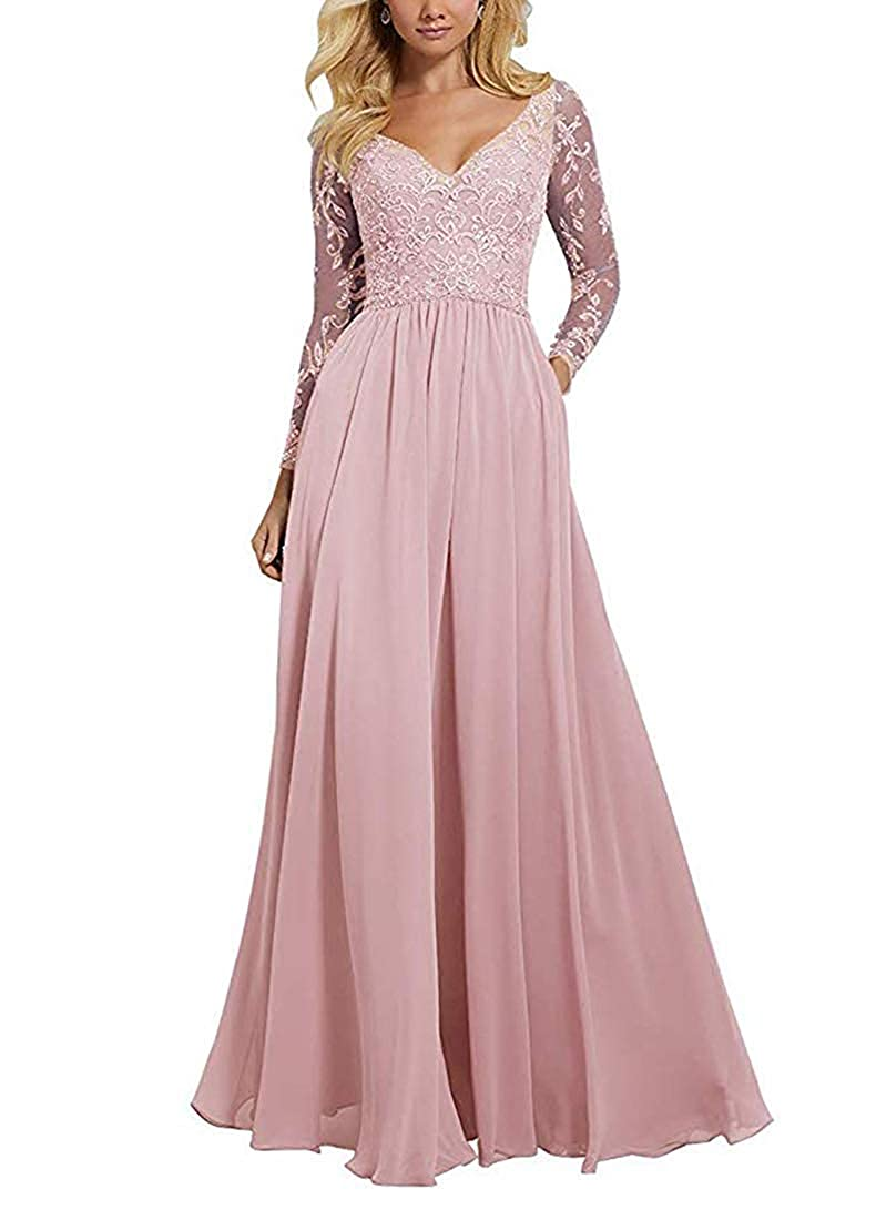bluesh JAEDEN Prom Dress Long Formal Evening Gowns with Long Sleeves Prom Gowns V Neck Evening Dresses Lace