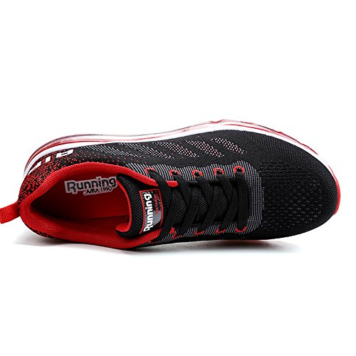 KISCHERS Men Women Absorbing Air Running Shoes Lightweight Sports Trainers for Walking Jogging Gym Fitness Athletic Competition Sneakers Red B1Wouc5N