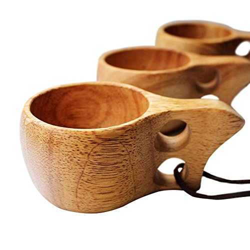 1pc Portable Kuksa Wood Cup Drink Tea Coffee Water Mug Handmade Wooden Cups