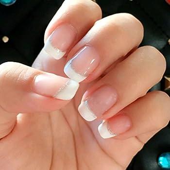 Jovono Short False Nail Tips Bling Bling Fake Nails French Full Warp for Women (No glue)