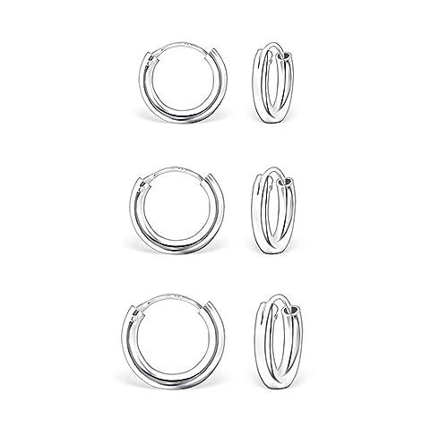 DTPsilver - Damen - Creolen - Ohrringe 925 Sterling Silber Set Paare 3 - Dicke 2 mm - Durchmesser 12...