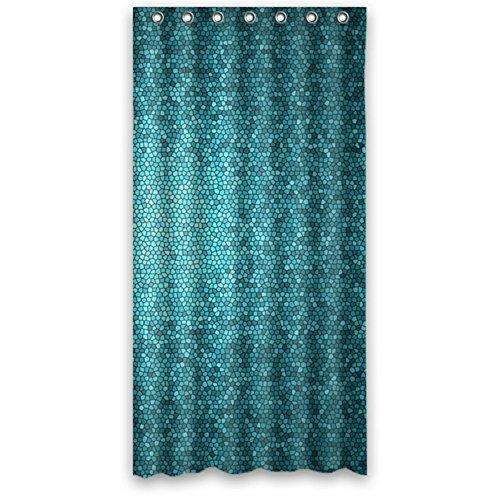 Stylish Mosaic Teals Aquas Lagoon Blue Bathroom Waterproof Polyester Fabric Shower Curtain 36