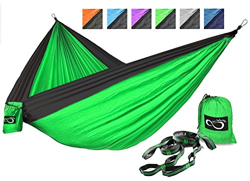 Price comparison product image Double Outdoor Camping Hammock Set- Lightweight, Compact & Portable Two Person Parachute Nylon Hammock Set- 2-16 Loop Tree Straps - Holds 500LBS-Ideal for Travel, Hiking & Beach Original Green Middle