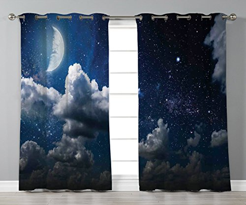 (Thermal Insulated Blackout Grommet Window Curtains,Clouds,Celestial Solar Night Scene Stars Moon and Clouds Heaven Place in Cosmos Theme,Dark Blue White,2 Panel Set Window Drapes,for Living Room)