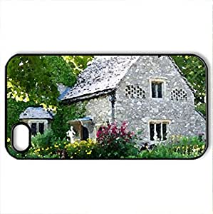 beautiful house - Case Cover for iPhone 4 and 4s (Houses Series, Watercolor style, Black)