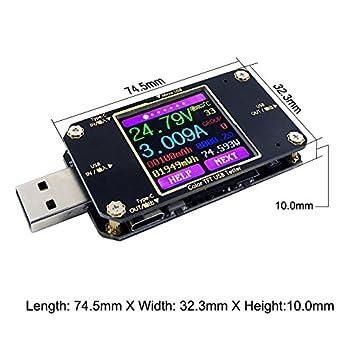 Testeur de Tension USB et testeur avec Bluetooth Meter multim/ètre TypeCVoltm/ètre