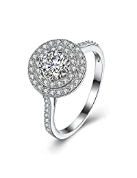 BALANSOHO 925 Sterling Silver Women Halo Engagement Rings Full Cubic Zirconia Wedding Band Eternity Solitaire Rings Size 8