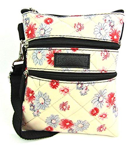 Desconocido Mujer Peso Ligero Cuerpo Cruzado Bolso de mano acolchado Bag Tabletas Caja Bolso Soporte Crema Flores