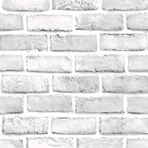 REYO 3D Wall Sticker, Retro DIY Simulation Tile Wall Sticker White Brick Stone Rustic Effect Self-adhesive Wall Sticker Home Decor (45 X 100cm, (Rustic Tile Wallpaper)