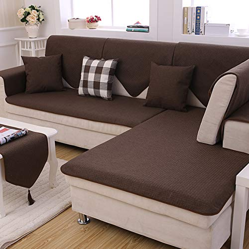 Redsun Cotton Linen Sectional Sofa Cover, Anti-Slip Solid Color Couch Covers Stain Resistant Furniture Protector for Dogs-Coffee ()