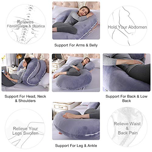 55 inches Full Body Pillow Maternity Pillow for Pregnant Women Comfort U Shaped Zootzi Pillow with Removable Washable Velvet Cover /… Chilling Home Pregnancy Pillow Full Grey 55x28 inch