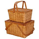 Storage Basket - Rectangle Handwoven Chipwood Basket - Set of 2