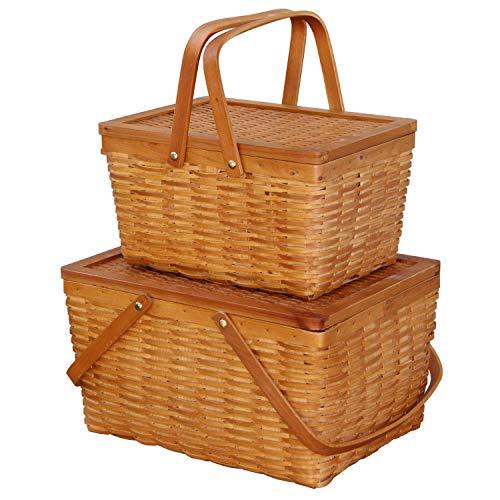 Storage Basket - Rectangle Handwoven Chipwood Basket - Set of 2 by Basket Bins