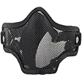WorldShopping4U respirante Tactical Paintball Métal Mesh militaire Squelette Demi Visage Masque de protection Airsoft War Game