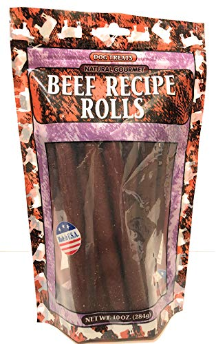 Natural Gourmet Beef Recipe Rolls Dog Treat, Made in USA, 10oz Pouch