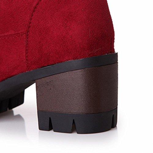 Piattaforma Nabuk Sintetica Moda Donna Latasa Metà Ginocchio Stivali Chunky Tacco Rosso
