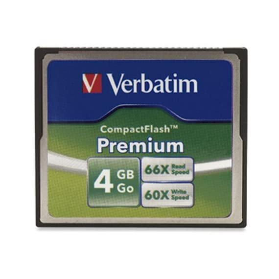 Verbatim Premium CompactFlash Memory Card 3 Minimum Read Speed 66X (10MB/sec) and Write Speed 60X (9MB/sec) Faster next shot recovery Faster image transfer