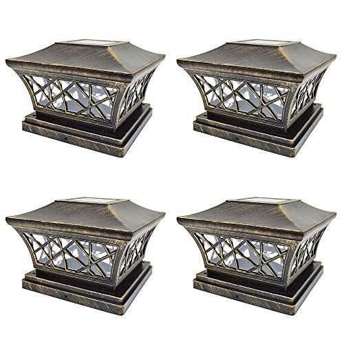 iGlow 4 Pack Vintage Bronze 6 x 6 Solar Post Light SMD LED Deck Cap Square Fence Outdoor Garden Landscape PVC Vinyl ()