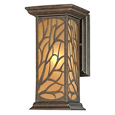 Westinghouse 6315000 Glenwillow One-Light Outdoor Wall Lantern with Amber Frosted Glass, Victorian Bronze