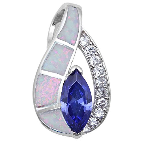 Simulated Tanzanite, Lab Created White Opal & Cubic Zirconia .925 Sterling Silver Pendant Necklace ()