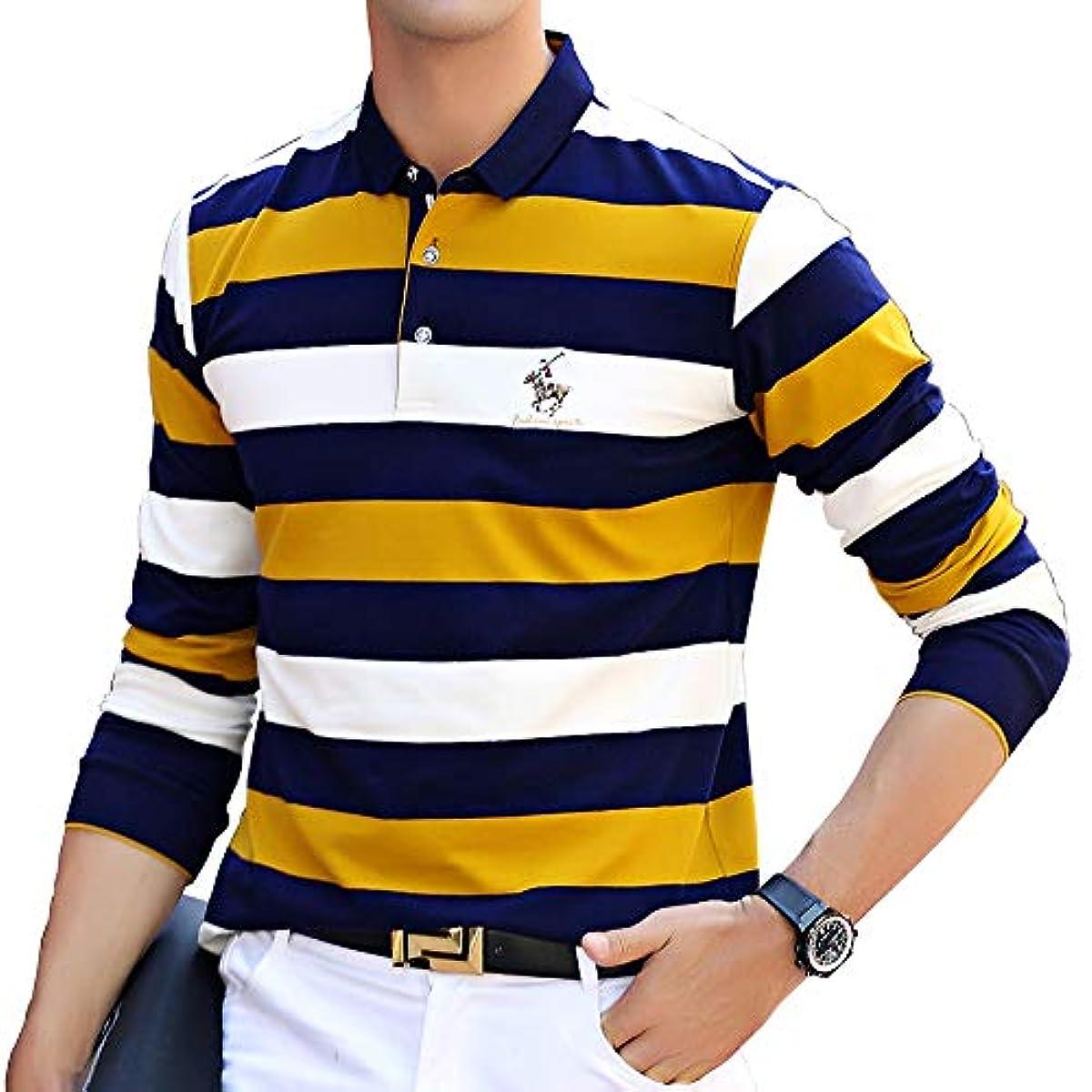 [해외] 긴 소매 폴로 셔츠 맨즈 골프 웨어 보더 스포츠 폴로 셔츠 면 비지니스 골프 셔츠 남성 스트라이프 자수 추동춘
