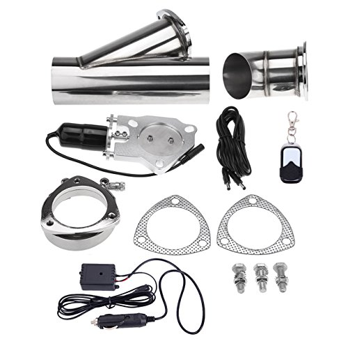 """Price comparison product image Iglobalbuy 76mm 3"""" Inch Electric Exhaust Muffler Valve Cutout System Dump W / Wireless Remote Control"""