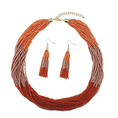 Bocar Multi Layer Beaded Statement Necklace Set Mix Strand Necklace and Earrings for Women Gift (NK-10459-Orange) ()