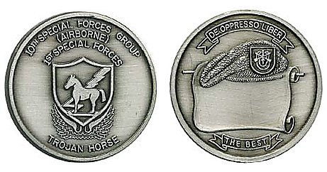 Group Challenge Coin - 10th Special Forces Group Silver Vintage Challenge Coin