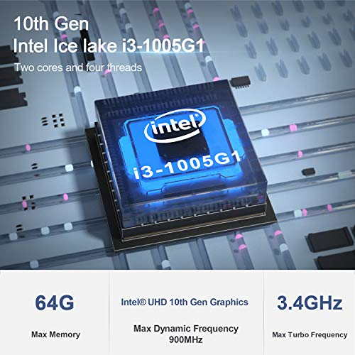 Mini PC, Beelink SEi10 with - 10th Gen Intel Core i3-1005G1(up to 3.40 GHz), 8G DDR4L, 256G NVME SSD Mini Computer, Triple Display(Dual HDMI/USB-C 4K@60Hz Output), WiFi-6 with BT5.0, Windows 10 Pro