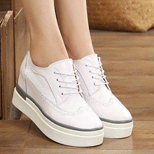 GTVERNH-Más Zapatos De Mujer Música Zapatos Zapatos Blancos Zapatos Casuales Zapatos De Tacon Grueso Talud Inferior 4 Cm De Tacon Alto Zapatos,Treinta Y Cuatro