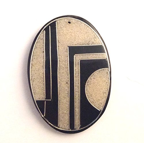 Picasso Jasper Oval Pendant Bead (Imagine If Sand Art Oval Pendant Bead 1pc Black and Tan with Silver Outlines 42x60mm)