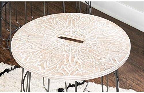 Linon Ellie Medallion Nesting Basket Tables in Brown