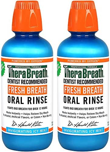 TheraBreath Gluten-Free Fresh Breath Oral Rinse, Icy Mint, 16 Ounce Bottle (Pack of 2)