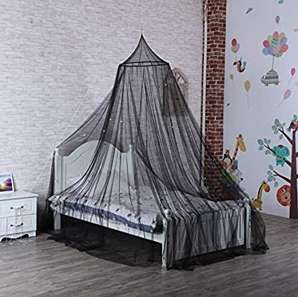 Crib Netting Bed Canopies That Glows at Night for Kids Rooms Camping Fire Retardant Fabric Baby Bassinet Quick Easy Installation Firefly Mosquito Net Black Garden