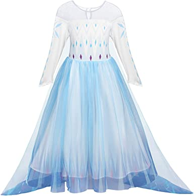 AmzBarley Princess Costumes for Girls Halloween Fancy Party Dress Up Birthday Outfits Long Sleeve Sequins Clothes