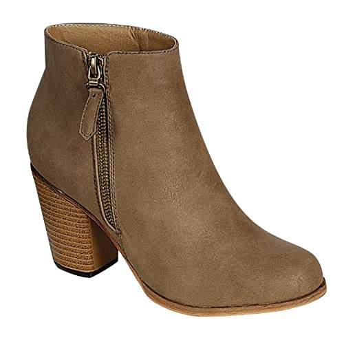 RENEEZE BABA-02 STACKED HEEL ZIPPER ANKLE BOOTIES - KHAKI