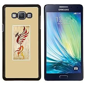 Pájaro del fuego del dragón amarillo impresiones- Metal de aluminio y de plástico duro Caja del teléfono - Negro - Samsung Galaxy A7 / SM-A700