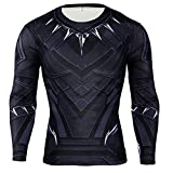 HIMIC E77C Hot Movie Super Hero Quick-Drying ElasticT-Shirt Costume (X-Large, Black Panther Long Sleeve)