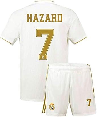 SecenMerch 2019//2020 New Hazard No #7 Real Madrid Home White Kids Soccer Jersey Kit Shorts Socks Set Youth Sizes