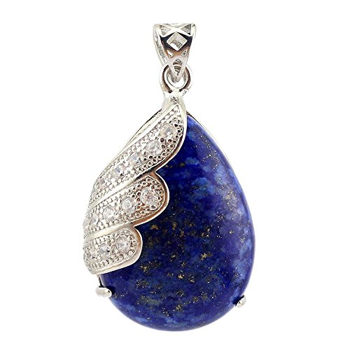 Happy Hours - Single Angel Wing Crystals Stones Teardrop Dangle Bead / Natural Water Droplet Pointed Healing Chakra Stone Pendant Fits All Necklace(Lapis Lazuli) (Crystal Bead Single)