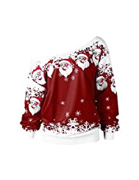 Ugly Christmas Blouse,KIKOY Women Loose Shirt Santa Claus Print Skew Collar Tops