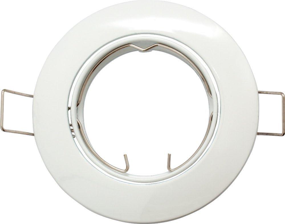 weiss rund- passt f/ür GU10 und MR16 LED- und Halogen- Einbaurahmen schwenkbar GU5,3