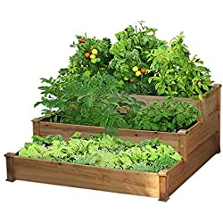 Yaheetech 3 Tier Wooden Elevated Raised Garden Bed Planter Box Kit Natural Cedar Wood