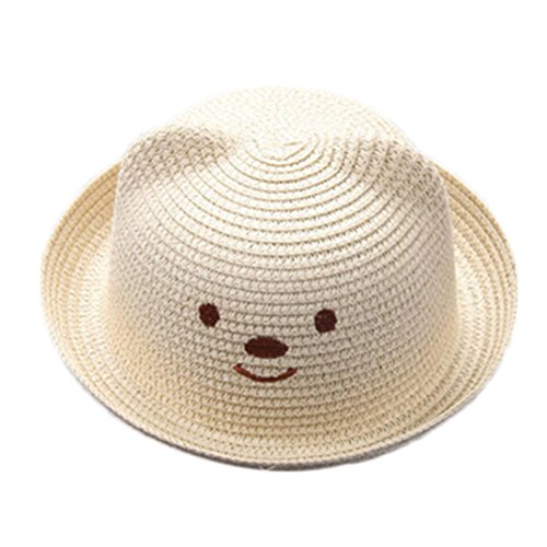 Baby Sun Hat,Kids Toddler Boy Girls Cat Ears Summer Straw Hat Bucket Sun Protection Cap (Beige) ()
