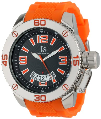 Joshua & Sons Men's JS54OR Metal Sport Watch with Plastic Orange Strap