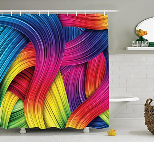 Ambesonne Abstract Home Decor Collection, Colorful Abstract Swirl Wavy Stripe Retro and Summer Sunny Joyful Design, Polyester Fabric Bathroom Shower Curtain Set with Hooks, Purple Yellow Pink