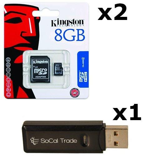 (2 PACK - Kingston 8GB MicroSD HC Class 4 TF MicroSDHC TransFlash Memory Card SDC8/8GB 8G 8 GB GIGS (M.A8.RTx2.550) LOT OF 2 with USB SoCal Trade© SCT Dual Slot MicroSD & SD Memory Card Reader - Retail Packaging)