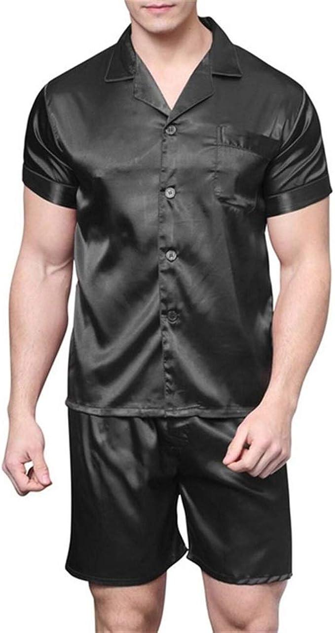 Satén de Seda Pijama de Pantalones Cortos for los Hombres ...